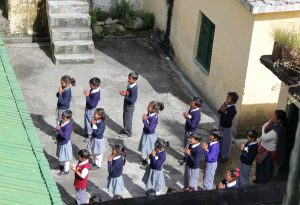 School Children During Morning Prayers